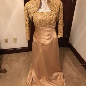 Gold Formal Gown with Lace Jacket